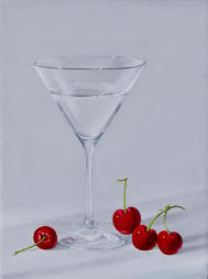 larger than life realistic painting of cocktail glass with cherries
