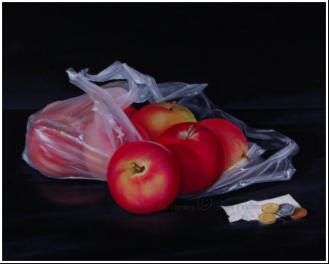 larger than life realistic painting of apples in a plastic bag