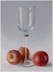 larger than life realistic painting of apples with a glass