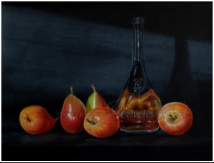realistic painting of blush pears and apples with Calvados bottle