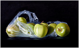 larger than life realistic painting of golden delicious apples in a plastic bag