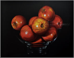 Larger than life, realistic painting Apples  in a Glass Bowl