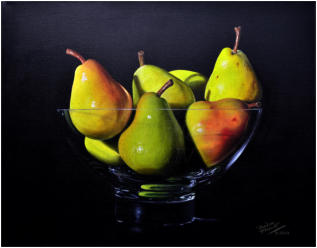 Larger than life, realistic painting Blush Pears in a Glass Bowl