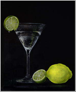 larger than life realistic painting of cocktail glass with Italian lemon and lime