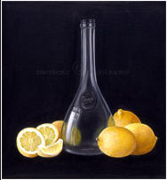 realistic painting of lemons with bottle
