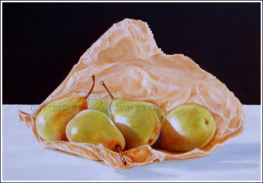 realistic painting of pears in a paper bag