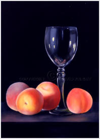 larger than life realistic painting of peaches with a wine glass