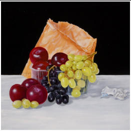 larger than life realistic painting of plums and grapes in a paper bag