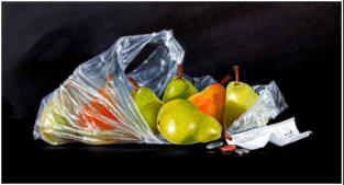 realistic painting of Williams Pears in a plastic bag